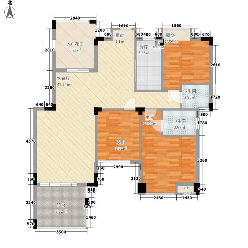 宁海世纪城115.24㎡11栋户型3室2厅2卫1厨