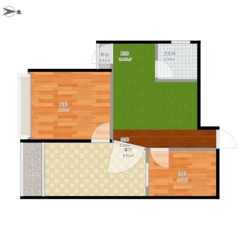 阳光・西雅图2室1厅1卫1厨59.00㎡户型图