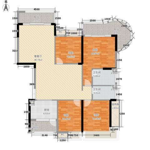 御花苑天�湾4室1厅2卫1厨150.00㎡户型图