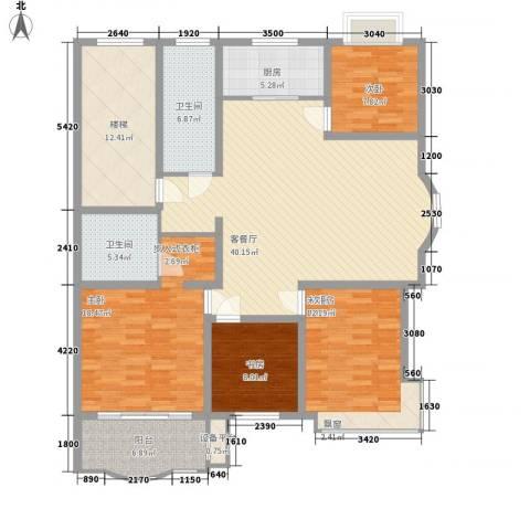 正大明泉花园3室1厅2卫1厨144.00㎡户型图
