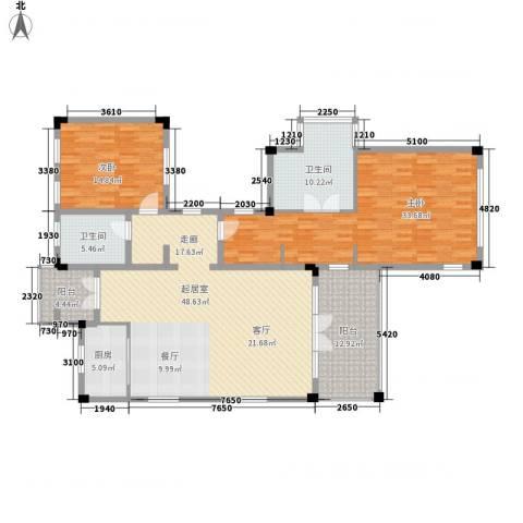 山东高速绿城・雪野湖桃花源2室0厅2卫1厨135.28㎡户型图