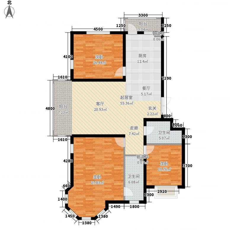 松浦观江国际138.24㎡B户型4室2厅2卫1厨