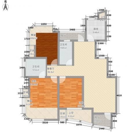 金世纪铭城豪庭3室1厅2卫1厨108.14㎡户型图