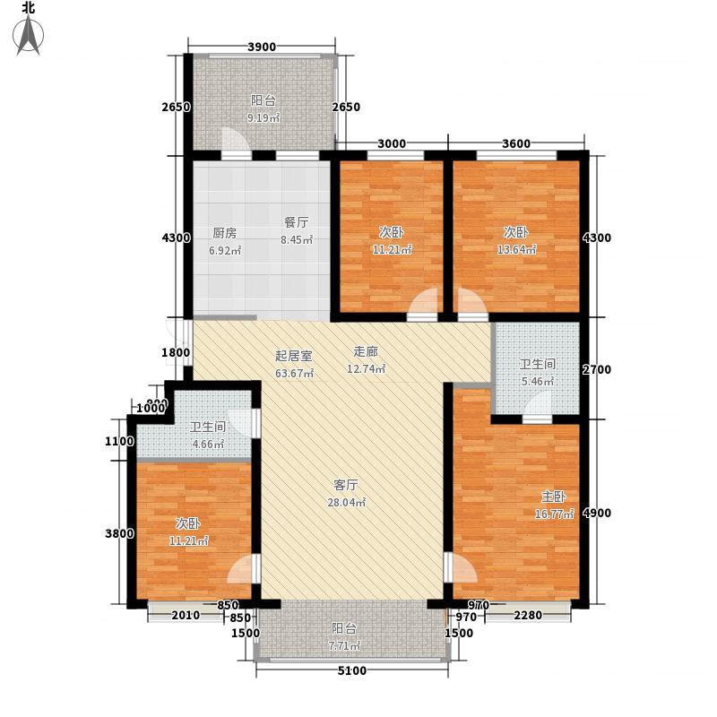 松浦观江国际144.24㎡A户型4室1厅2卫1厨