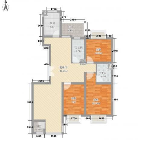 紫薇臻品3室1厅2卫1厨115.00㎡户型图