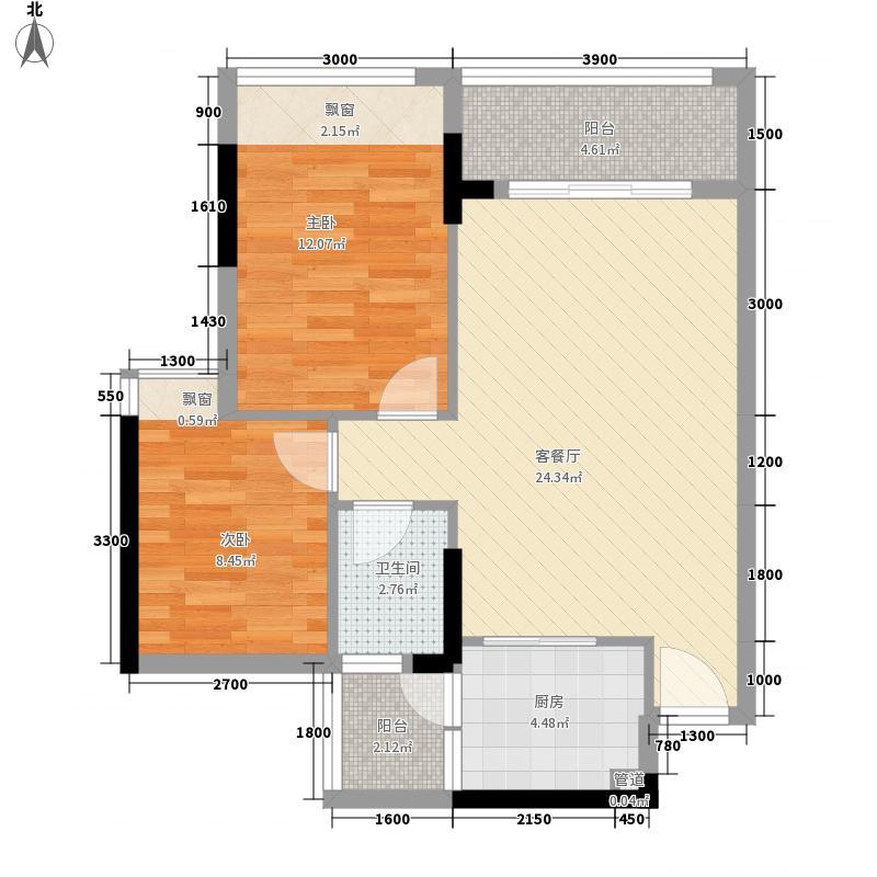 柠檬印象68.17㎡2栋1、2单元03、04户型2室2厅1卫1厨