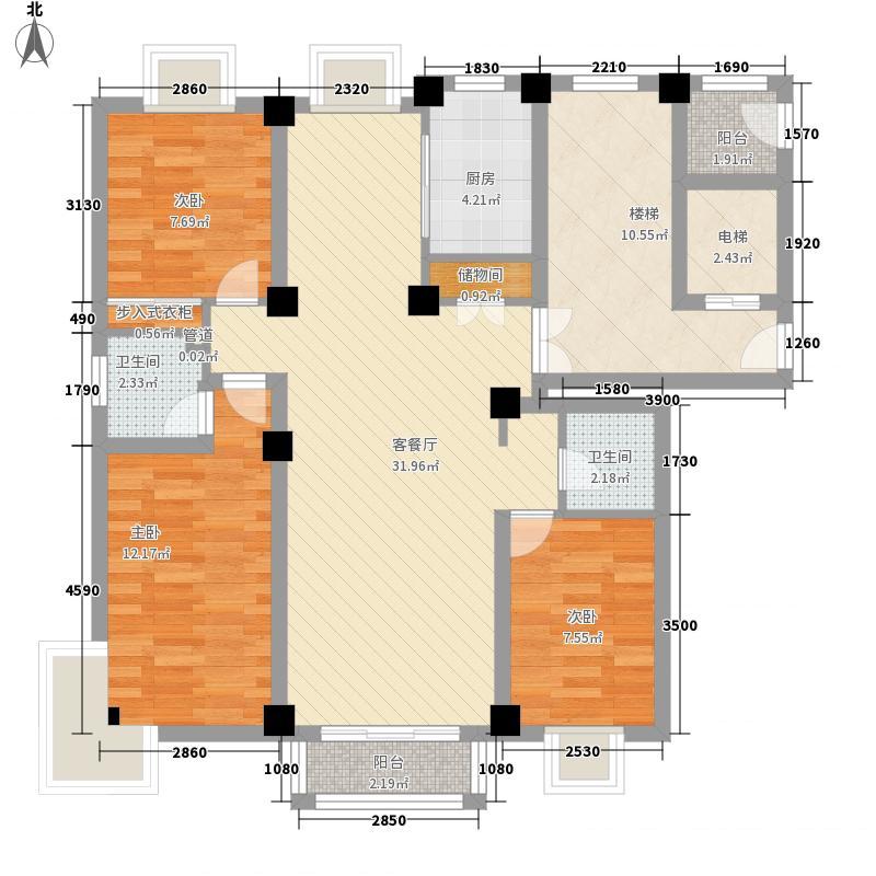 月湖名邸128.24㎡B户型3室2厅