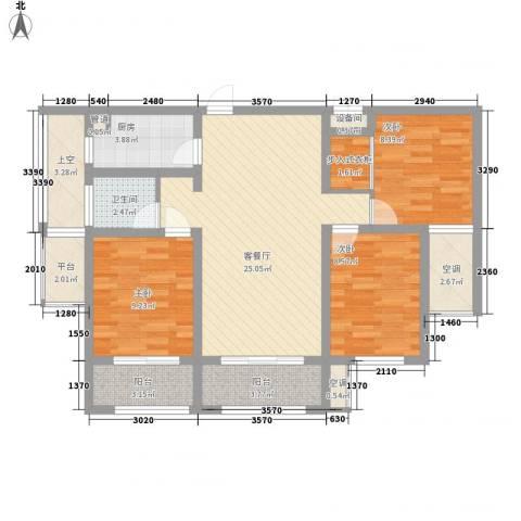 明发・淄博世贸中心3室1厅1卫1厨119.00㎡户型图