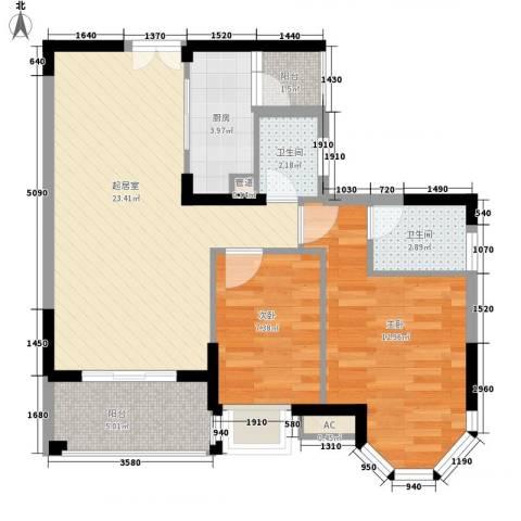 海景蓝湾2室0厅2卫1厨85.00㎡户型图