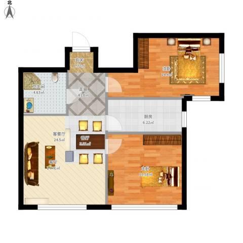 华都文郡2室1厅1卫1厨88.00㎡户型图