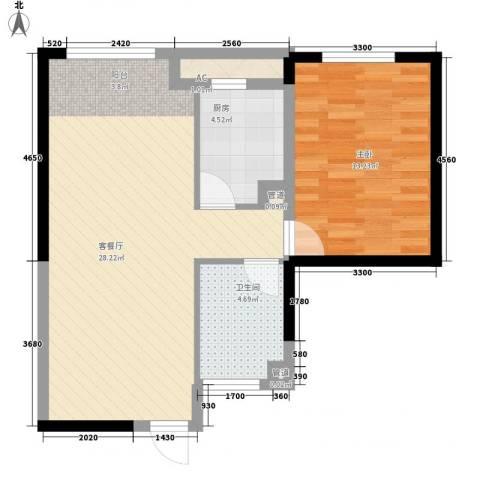 东北MALL1室1厅1卫1厨74.00㎡户型图