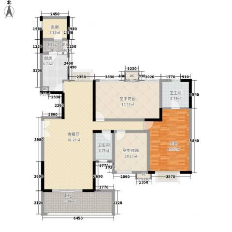 招商花园城1室1厅2卫1厨125.49㎡户型图