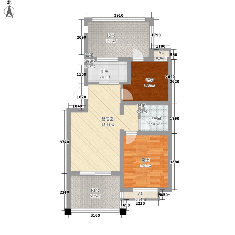 普利林景山庄72.80㎡A4户型2室1厅1卫1厨