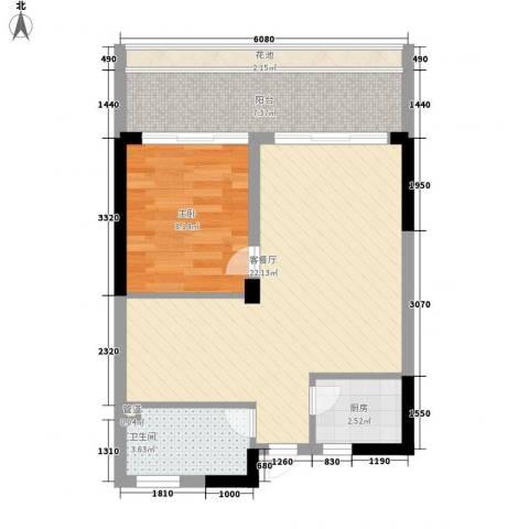 碧海蓝天三期1室1厅1卫1厨67.00㎡户型图