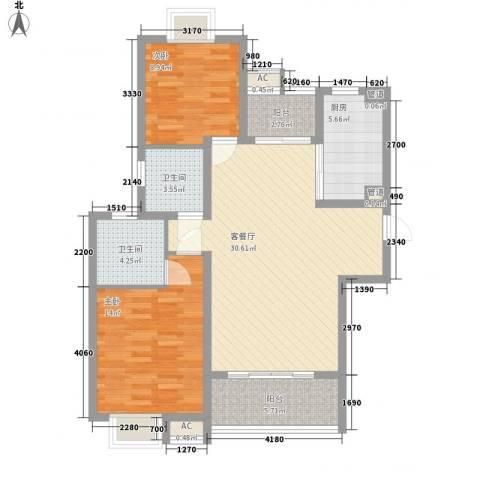 逸流公寓2室1厅2卫1厨112.00㎡户型图