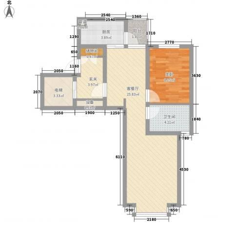 世茂滨江新城1室1厅1卫1厨78.00㎡户型图