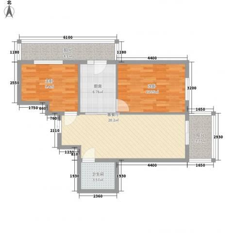 北岸七英里2室1厅1卫1厨69.00㎡户型图