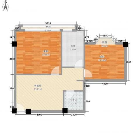 大唐长风一期2室1厅1卫1厨88.00㎡户型图