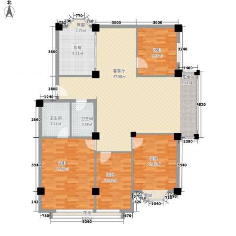 大唐长风一期4室1厅2卫1厨167.00㎡户型图