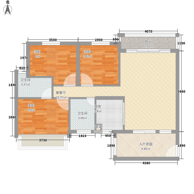 湖星水岸华庭2户型3室2厅2卫