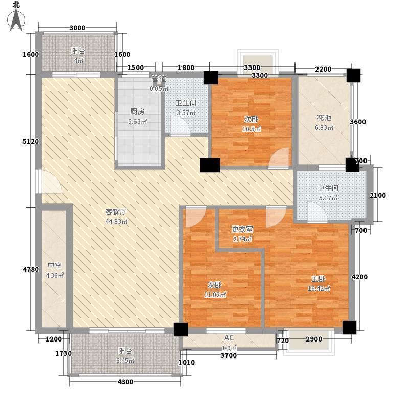 天诚丽景14.60㎡3#楼户型3室2厅2卫1厨