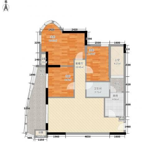碧海蓝天三期3室1厅1卫1厨125.00㎡户型图