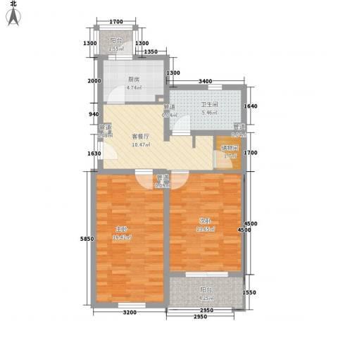 万润家园2室1厅1卫1厨86.00㎡户型图