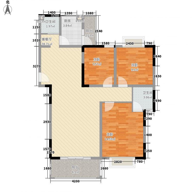金楠国际110.00㎡C1型户型3室2厅2卫1厨