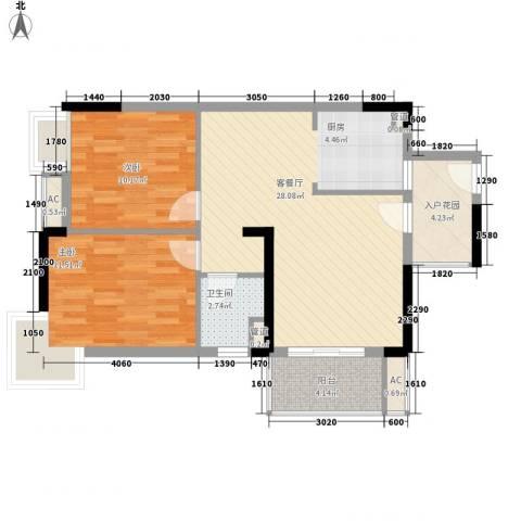 棕榈泉五期2室1厅1卫0厨83.00㎡户型图