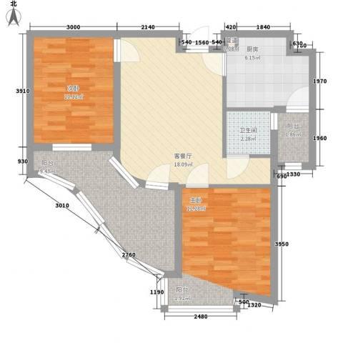 热岛黄金海岸2室1厅1卫1厨92.00㎡户型图