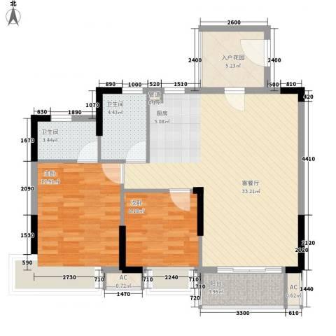 棕榈泉五期2室1厅2卫0厨102.00㎡户型图