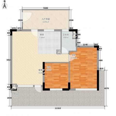 棕榈泉五期2室1厅1卫0厨99.00㎡户型图