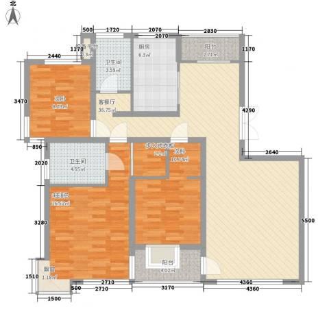 大唐盛世花园2室1厅2卫1厨142.00㎡户型图