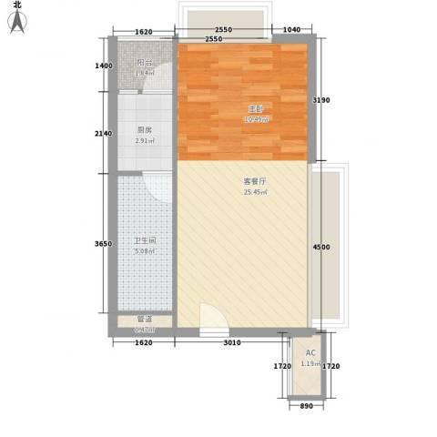 棕榈泉五期1厅1卫1厨52.00㎡户型图