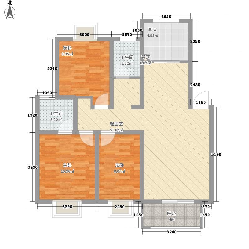 绿洲茗苑户型图一期4#F户型 3室2厅2卫1厨