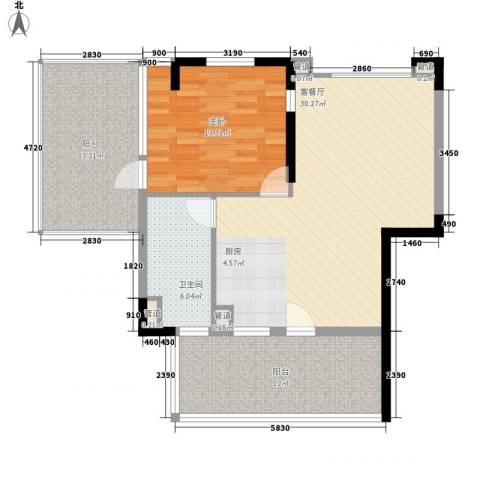 棕榈泉五期1室1厅1卫0厨80.00㎡户型图