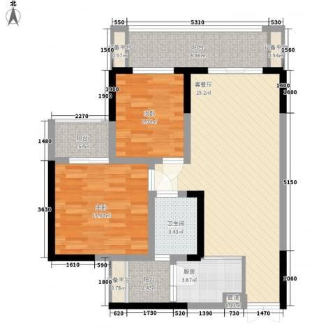 华宇绿洲2室1厅1卫1厨98.00㎡户型图