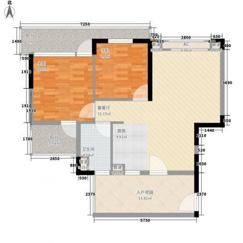 棕榈泉五期2室1厅1卫0厨91.00㎡户型图