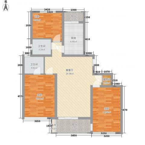 大唐盛世花园3室1厅2卫1厨130.00㎡户型图