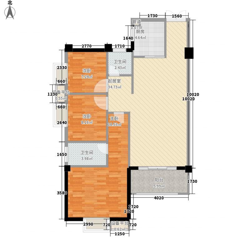 江滨花园城冠园121.00㎡14#楼303-330户型3室2厅2卫1厨