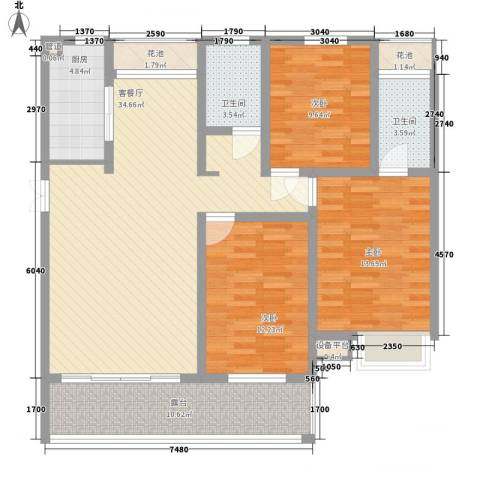 金榜华庭3室1厅2卫1厨139.00㎡户型图