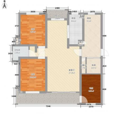 金榜华庭3室1厅1卫1厨120.00㎡户型图