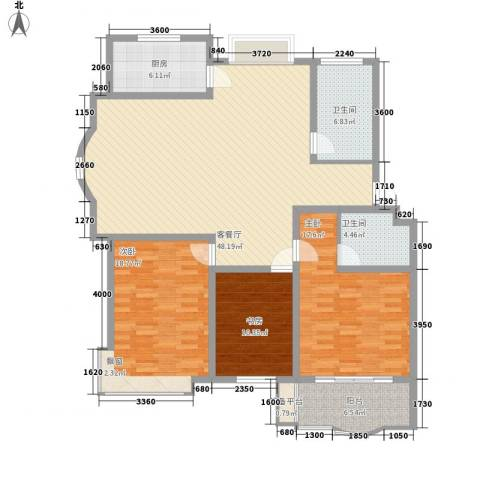 正大明泉花园3室1厅2卫1厨147.00㎡户型图