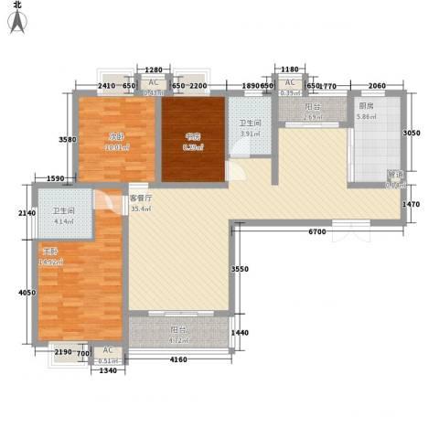 逸流公寓3室1厅2卫1厨135.00㎡户型图