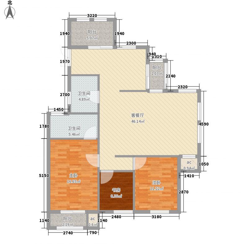 恒威君园和庄143.00㎡一期高层C户型3室2厅2卫1厨