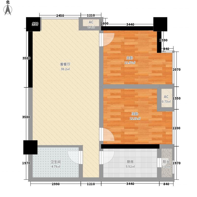 时丰中央公园DK2-2号楼C户型2室1厅1卫1厨