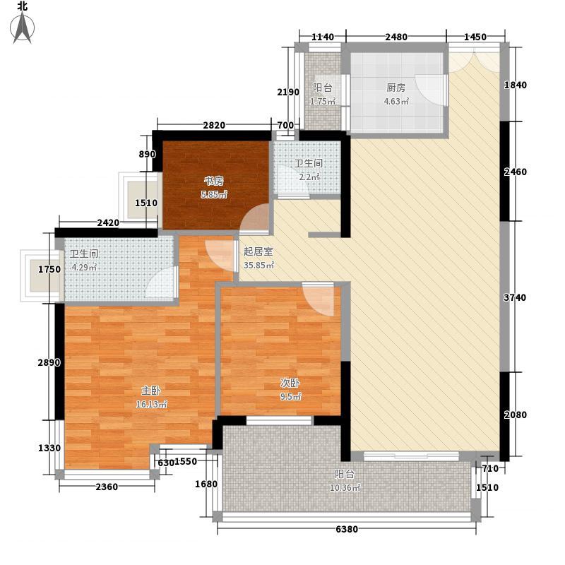 鸿翔花园126.00㎡鸿翔花园户型图6栋013室2厅2卫1厨户型3室2厅2卫1厨