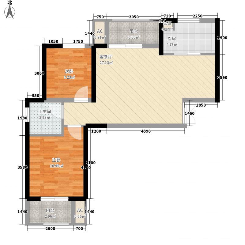 正弘蓝堡湾三期弘熹台8.00㎡三期2号楼C户型2室2厅1卫1厨