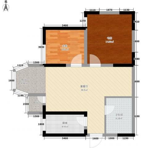 珠江新城二期2室1厅1卫1厨95.00㎡户型图