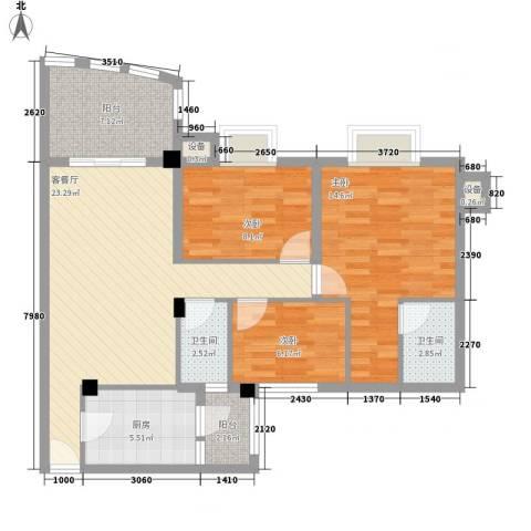 南村南兴花园3室1厅2卫1厨105.00㎡户型图